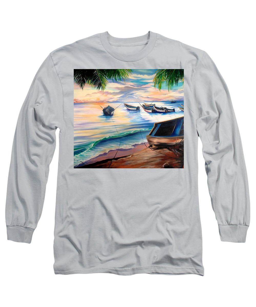 Ocean Painting Caribbean Painting Seascape Painting Beach Painting Fishing Boats Painting Sunset Painting Blue Palm Trees Fisherman Trinidad And Tobago Painting Tropical Painting Long Sleeve T-Shirt featuring the painting Home From The Sea by Karin Dawn Kelshall- Best