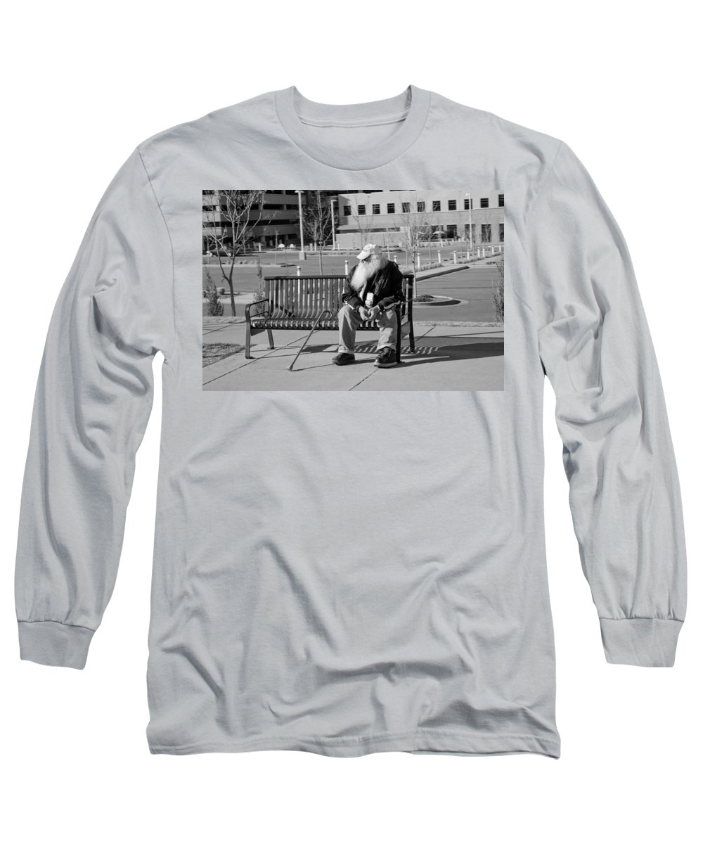 Portrait Long Sleeve T-Shirt featuring the photograph Homeless Man by Angus Hooper Iii