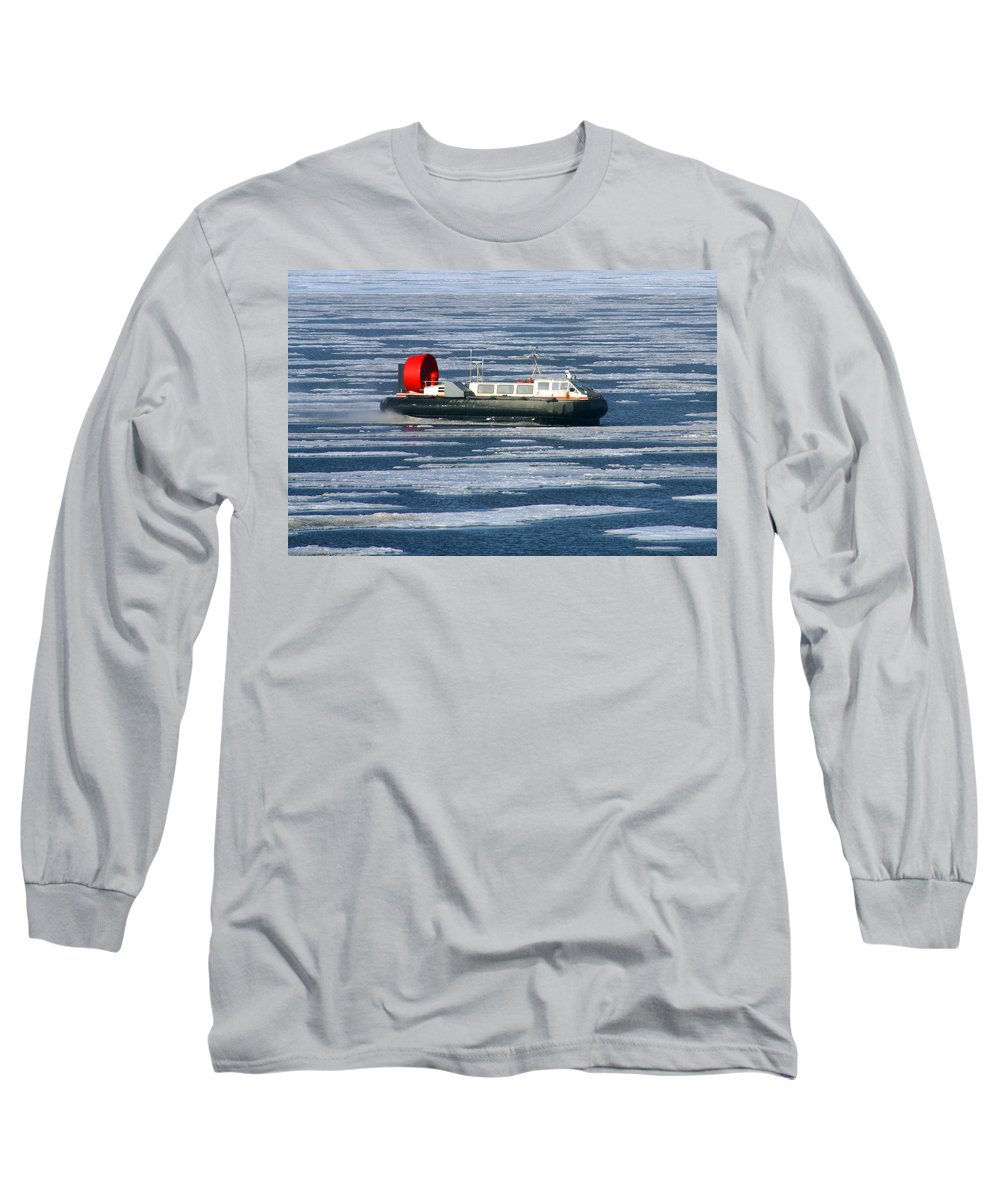 Arctic Ocean Long Sleeve T-Shirt featuring the photograph Hovercraft On Frozen Artic Ocean by Anthony Jones
