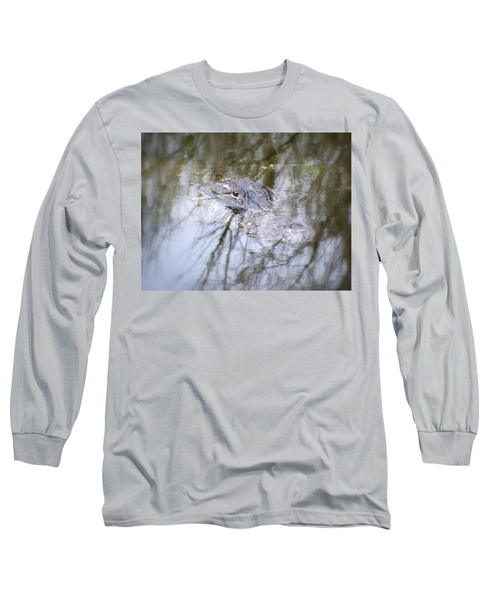Alligator Long Sleeve T-Shirt featuring the photograph I Am Watching by Ed Smith