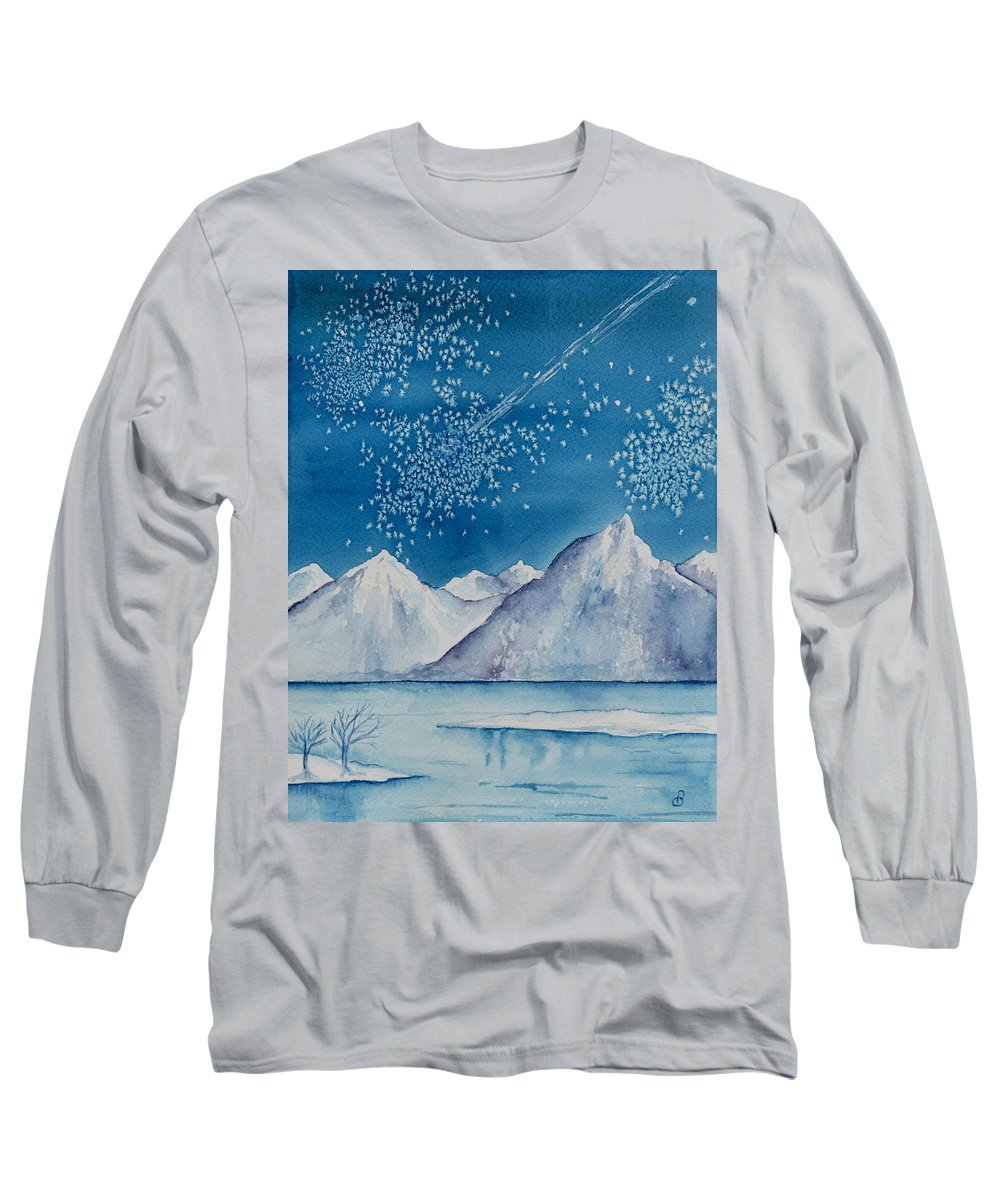 Watercol.or Scenery Landscape Fantasy Ice Snow Cold Winter Mountains Frozen Long Sleeve T-Shirt featuring the painting In The Far North by Brenda Owen