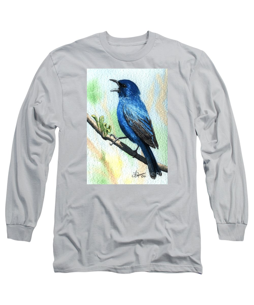 Bird Long Sleeve T-Shirt featuring the painting Indigo Bunting by Lynn Quinn