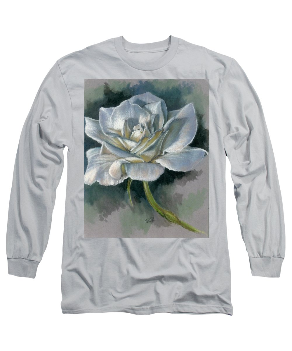 Rose Long Sleeve T-Shirt featuring the mixed media Innocence by Barbara Keith