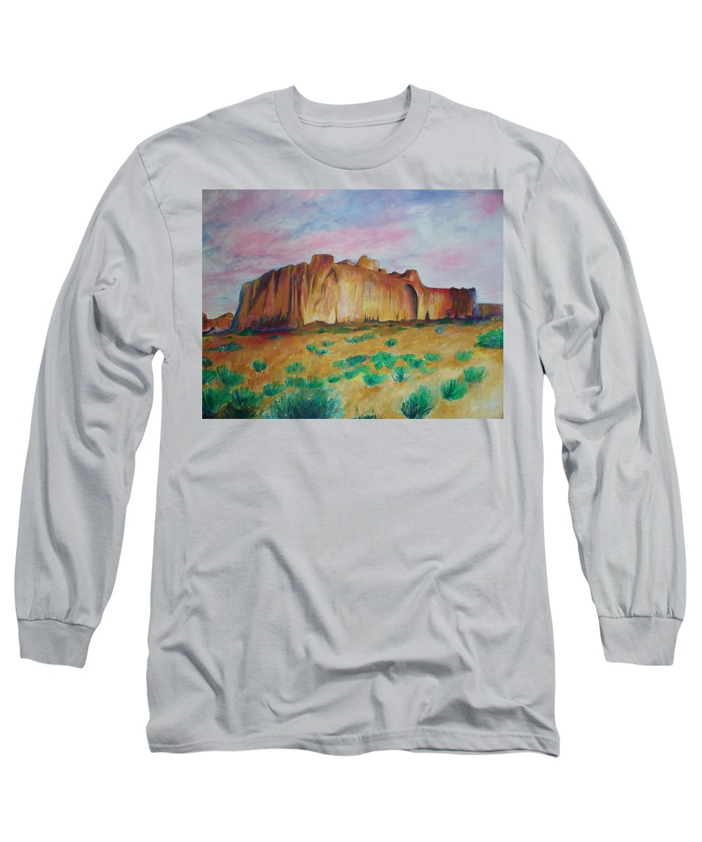 Western Landscapes Long Sleeve T-Shirt featuring the painting Inscription Rock by Eric Schiabor