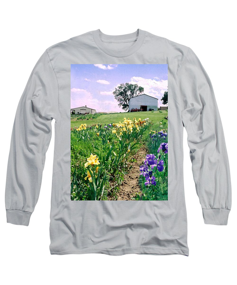 Landscape Painting Long Sleeve T-Shirt featuring the photograph Iris Farm by Steve Karol