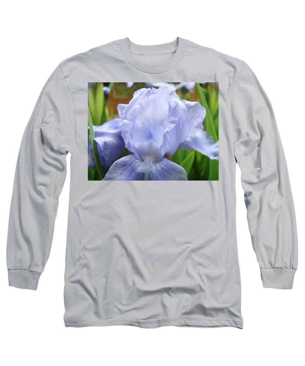 �irises Artwork� Long Sleeve T-Shirt featuring the photograph Irises Blue Iris Flower Light Blue Art Flower Soft Baby Blue Baslee Troutman by Baslee Troutman