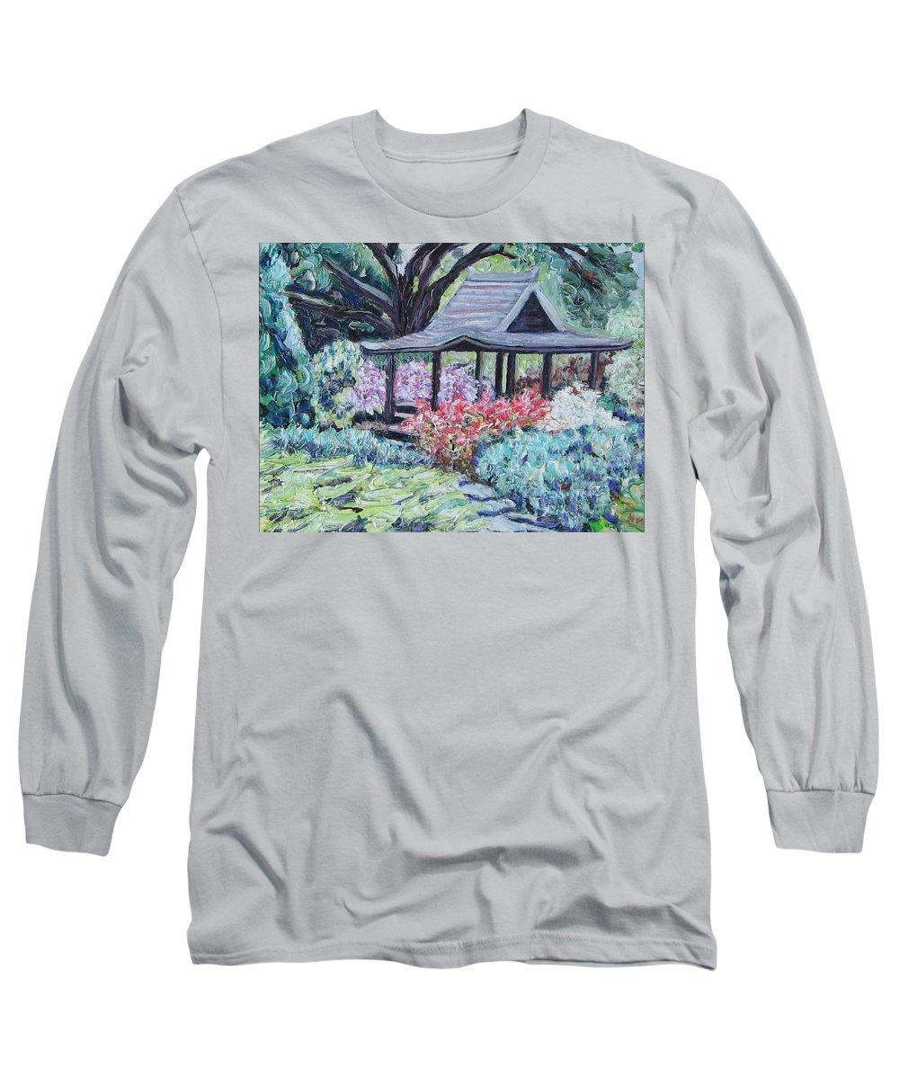 Garden Long Sleeve T-Shirt featuring the painting Japanese Garden by Richard Nowak