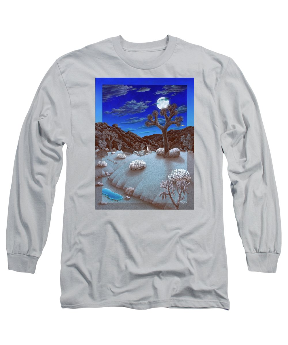 Landscape Long Sleeve T-Shirt featuring the painting Joshua Tree At Night by Snake Jagger