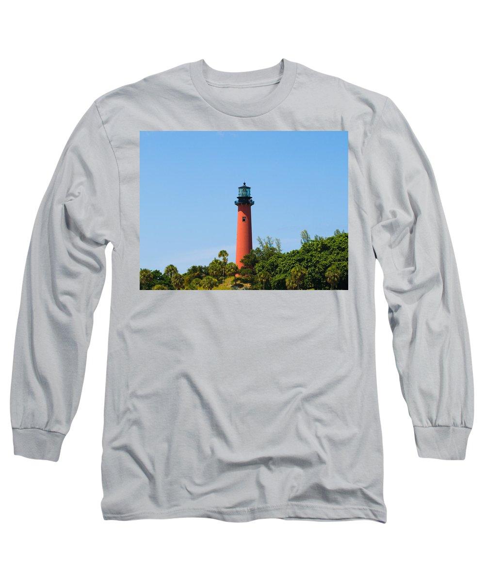 Florida; Juptier; Inlet; Loxahatchee; River; Atlantic; Coast; Shore; Beach; Light; Lighthouse; Beaco Long Sleeve T-Shirt featuring the photograph Jupiter Light In Florida by Allan Hughes