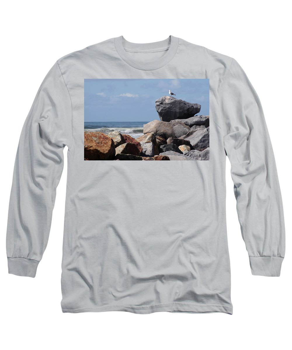 Beach Long Sleeve T-Shirt featuring the photograph King Of The Rocks by Margie Wildblood