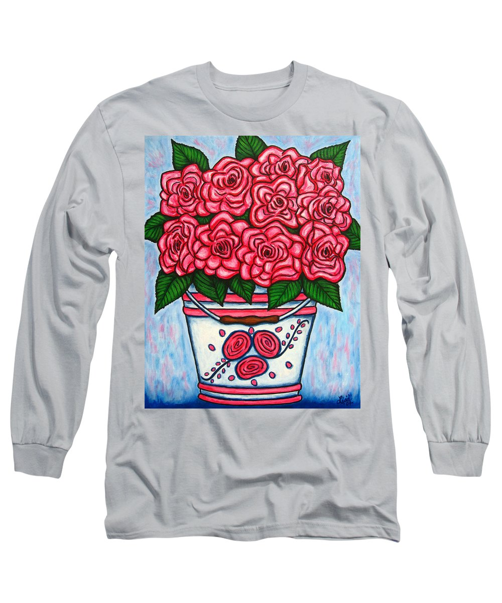 Rose Long Sleeve T-Shirt featuring the painting La Vie En Rose by Lisa Lorenz
