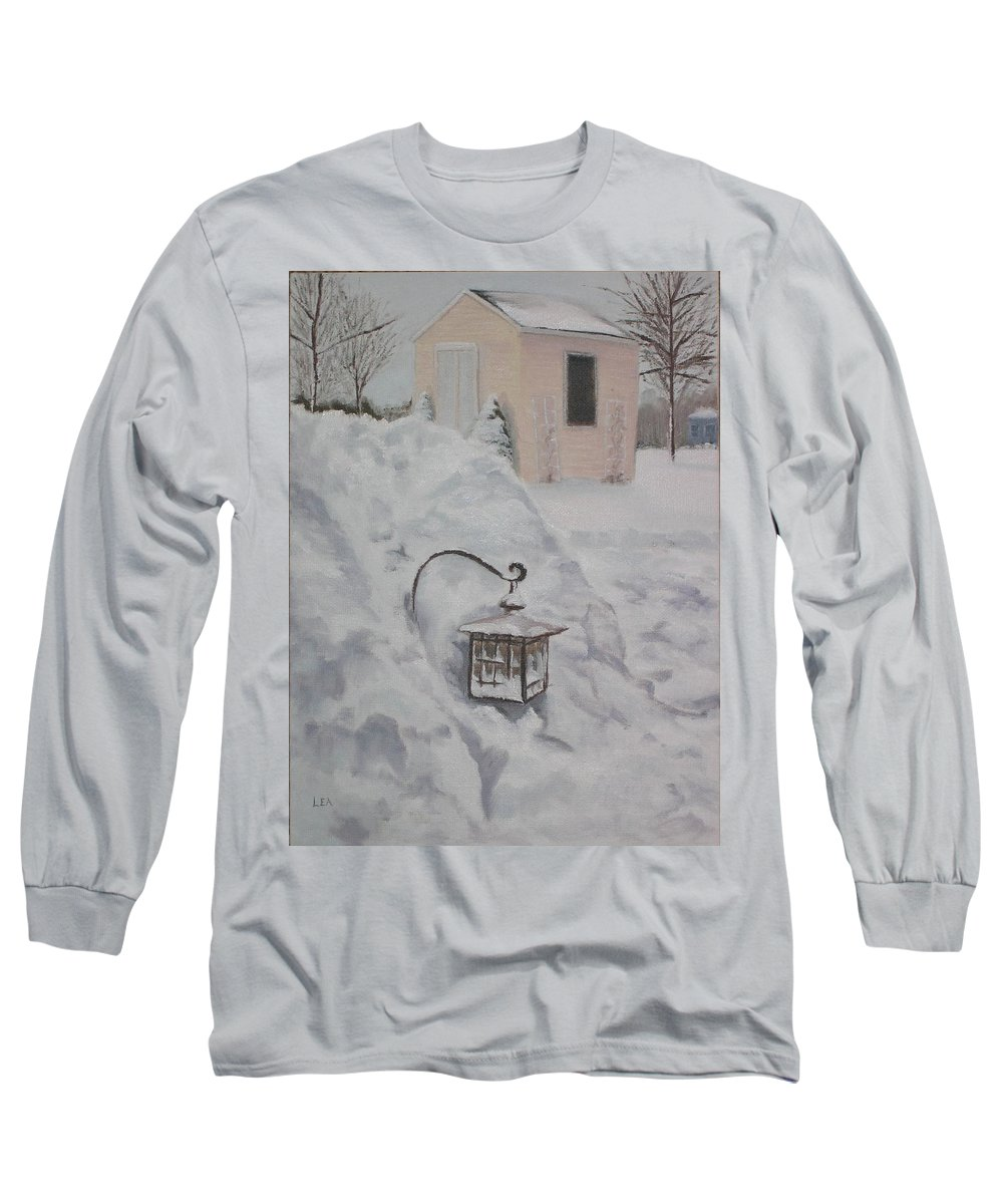 Snow Long Sleeve T-Shirt featuring the painting Lantern In The Snow by Lea Novak