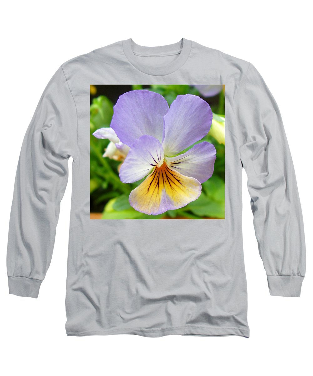 Pansy Long Sleeve T-Shirt featuring the photograph Lavender Pansy by Nancy Mueller