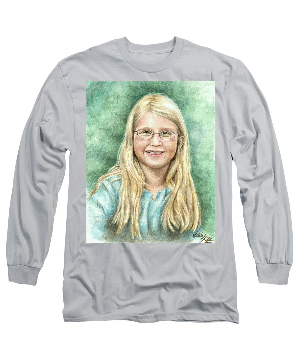 Girl Long Sleeve T-Shirt featuring the painting Lily by Nicole Zeug