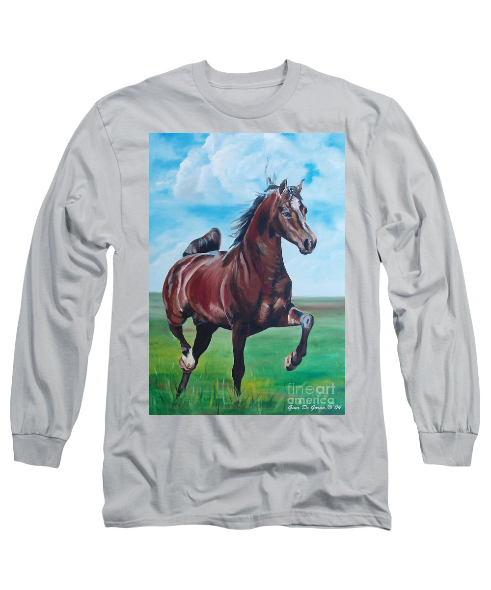 Horse Long Sleeve T-Shirt featuring the painting Lovely by Gina De Gorna