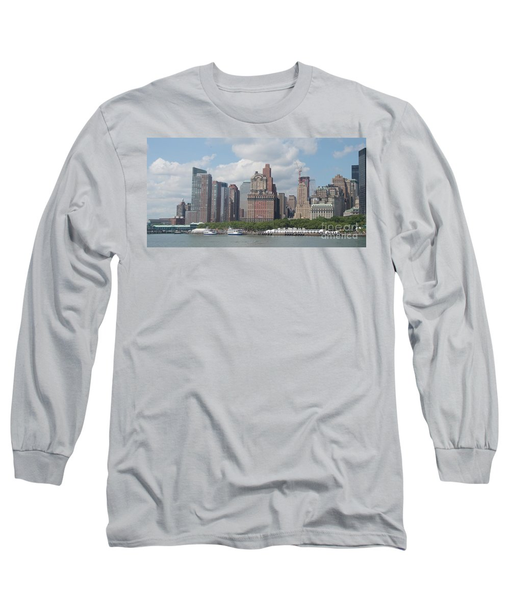 New York Long Sleeve T-Shirt featuring the photograph Lower Manhattan Panorama by Thomas Marchessault