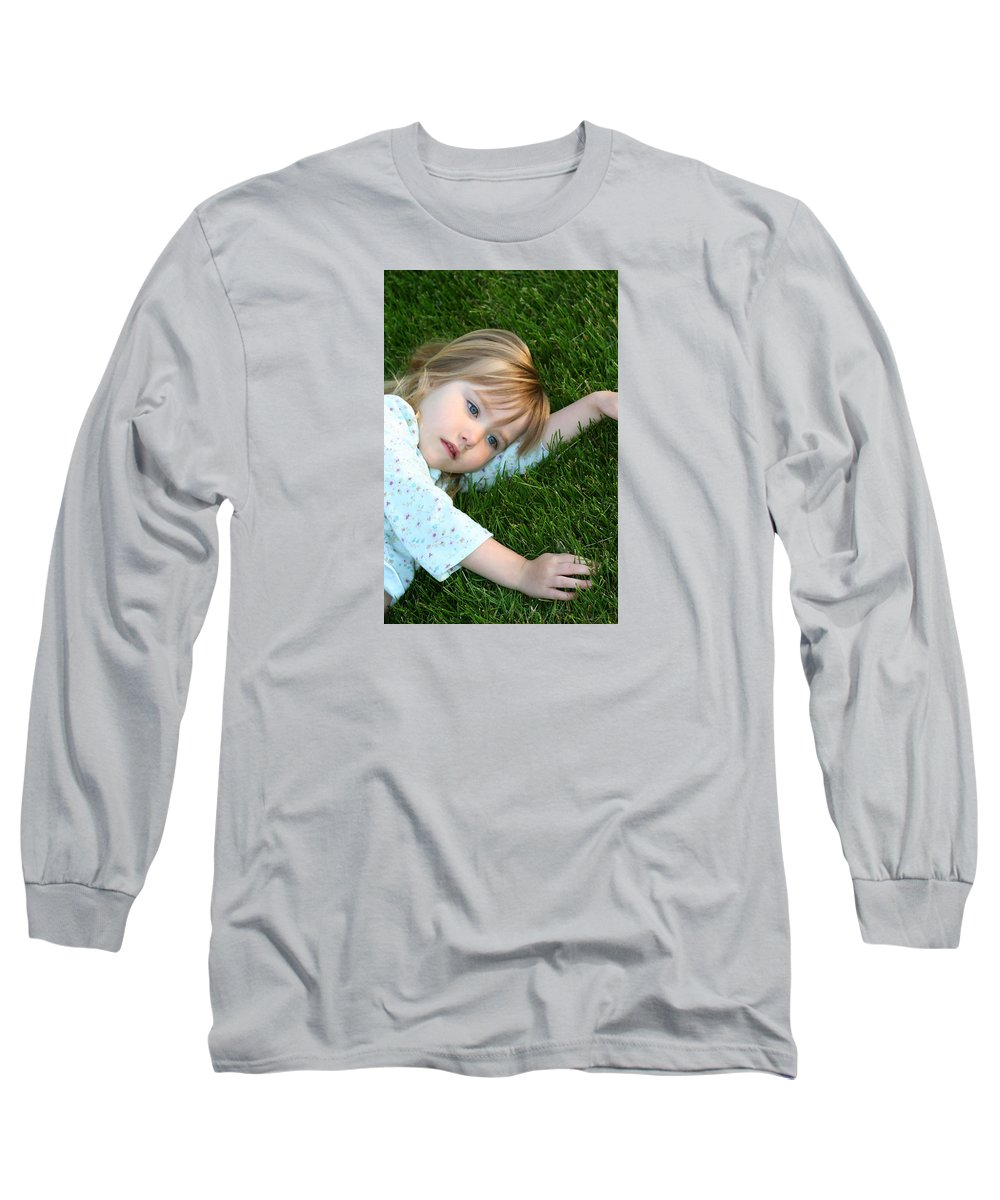 Girl Long Sleeve T-Shirt featuring the photograph Lying In The Grass by Margie Wildblood