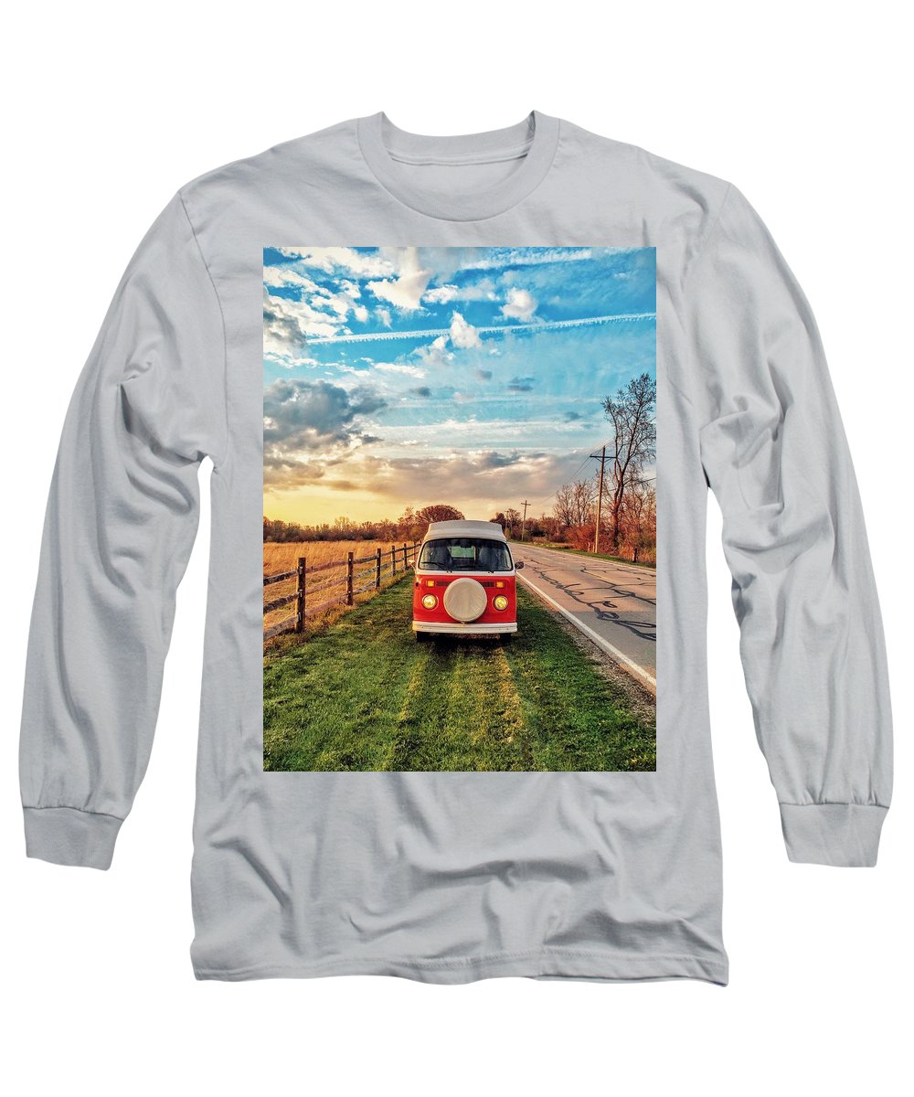 Vw Long Sleeve T-Shirt featuring the photograph Magic Hour Magic Bus by Andrew Weills