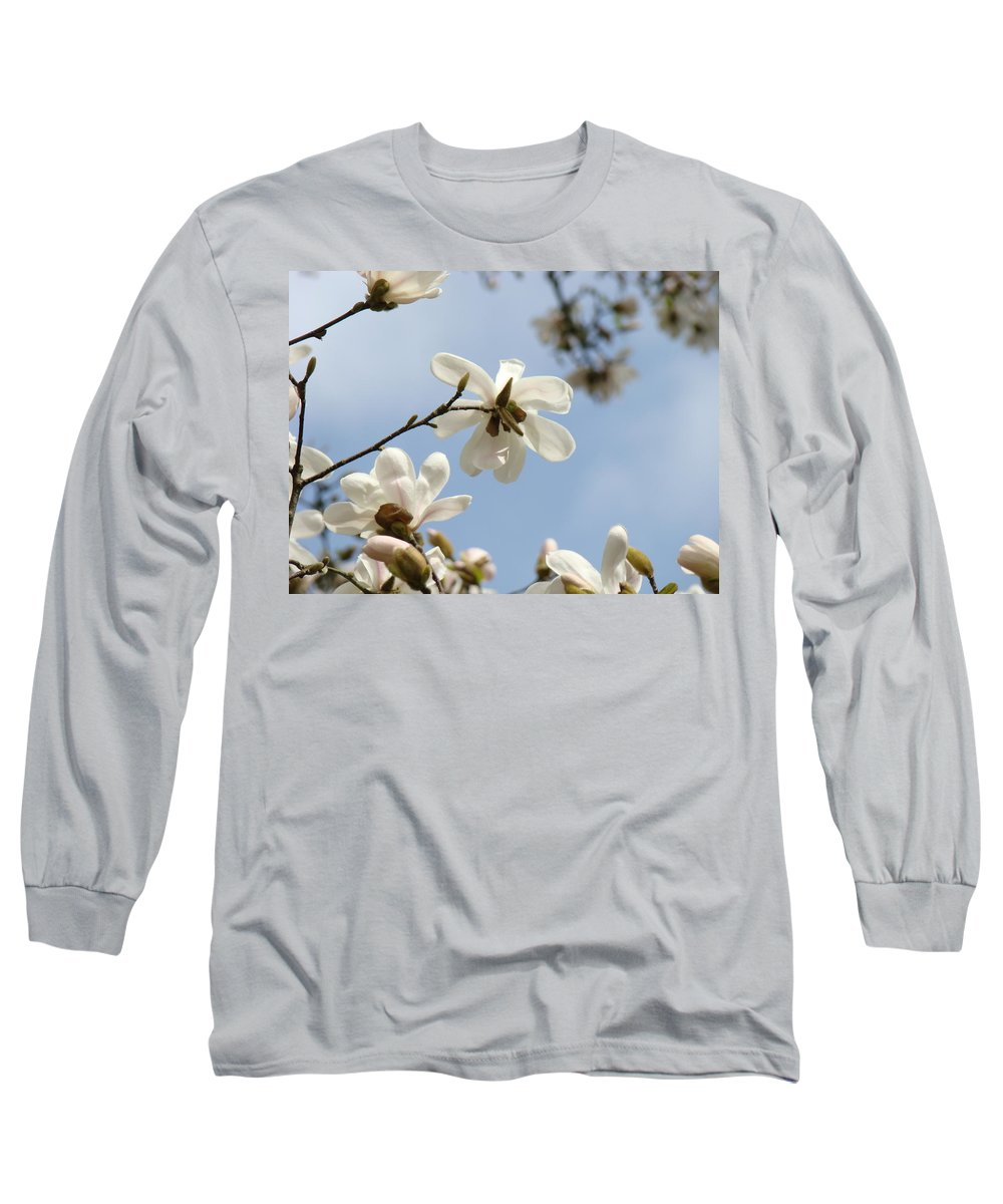 Magnolia Long Sleeve T-Shirt featuring the photograph Magnolia Flowers White Magnolia Tree Art 2 Blue Sky Giclee Prints Baslee Troutman by Baslee Troutman