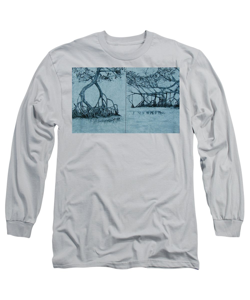 Blue Long Sleeve T-Shirt featuring the painting Mangroves by Leah Tomaino