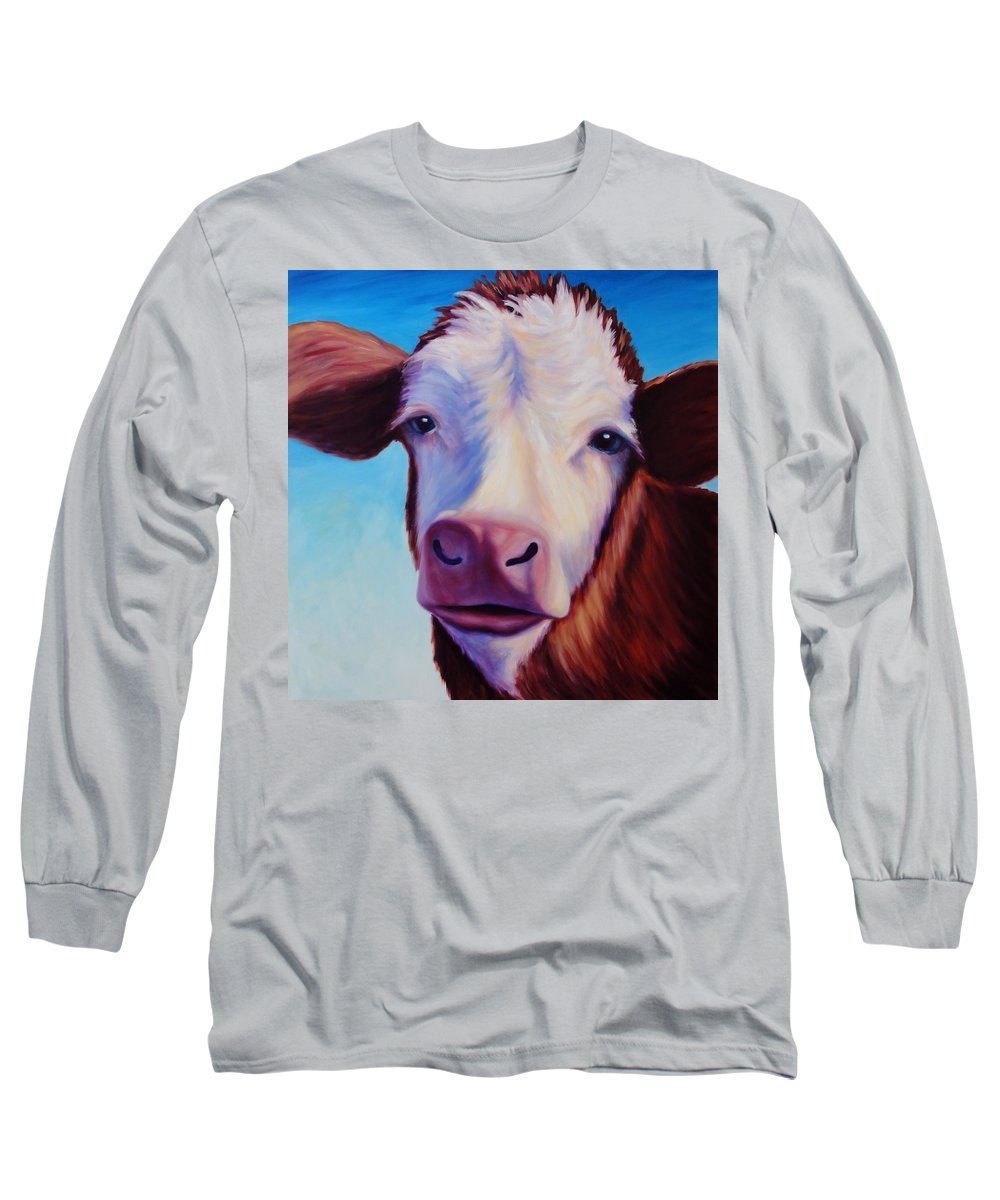 Cow Long Sleeve T-Shirt featuring the painting Marie by Shannon Grissom