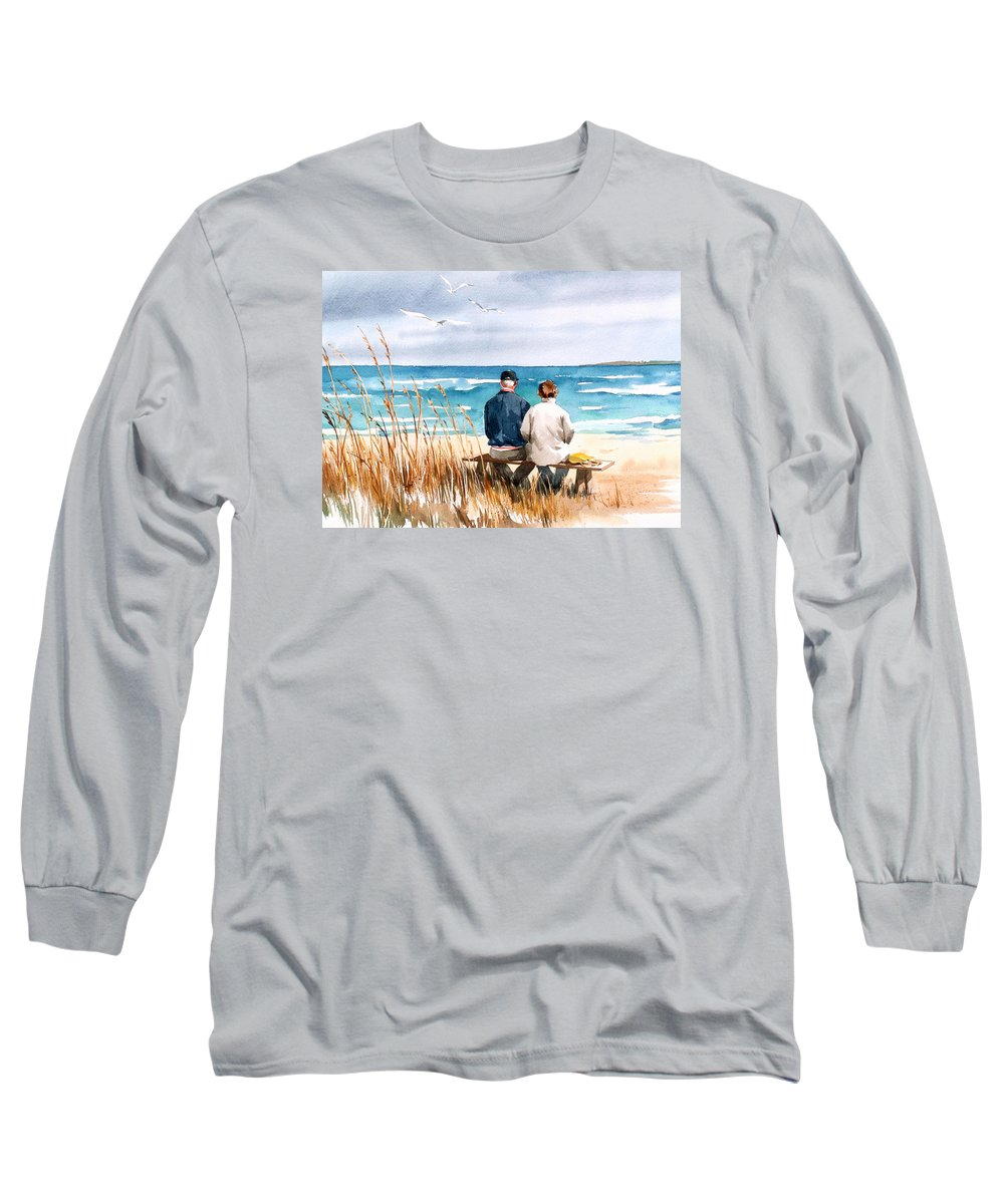 Couple On Beach Long Sleeve T-Shirt featuring the painting Memories by Art Scholz
