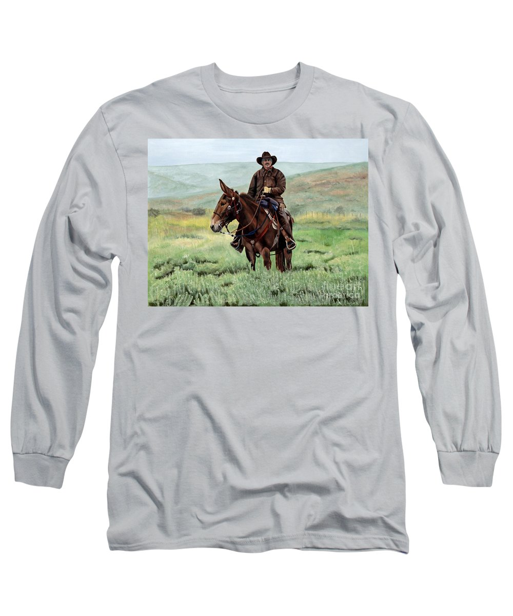 Usa Long Sleeve T-Shirt featuring the painting Memories Of Molly by Mary Rogers