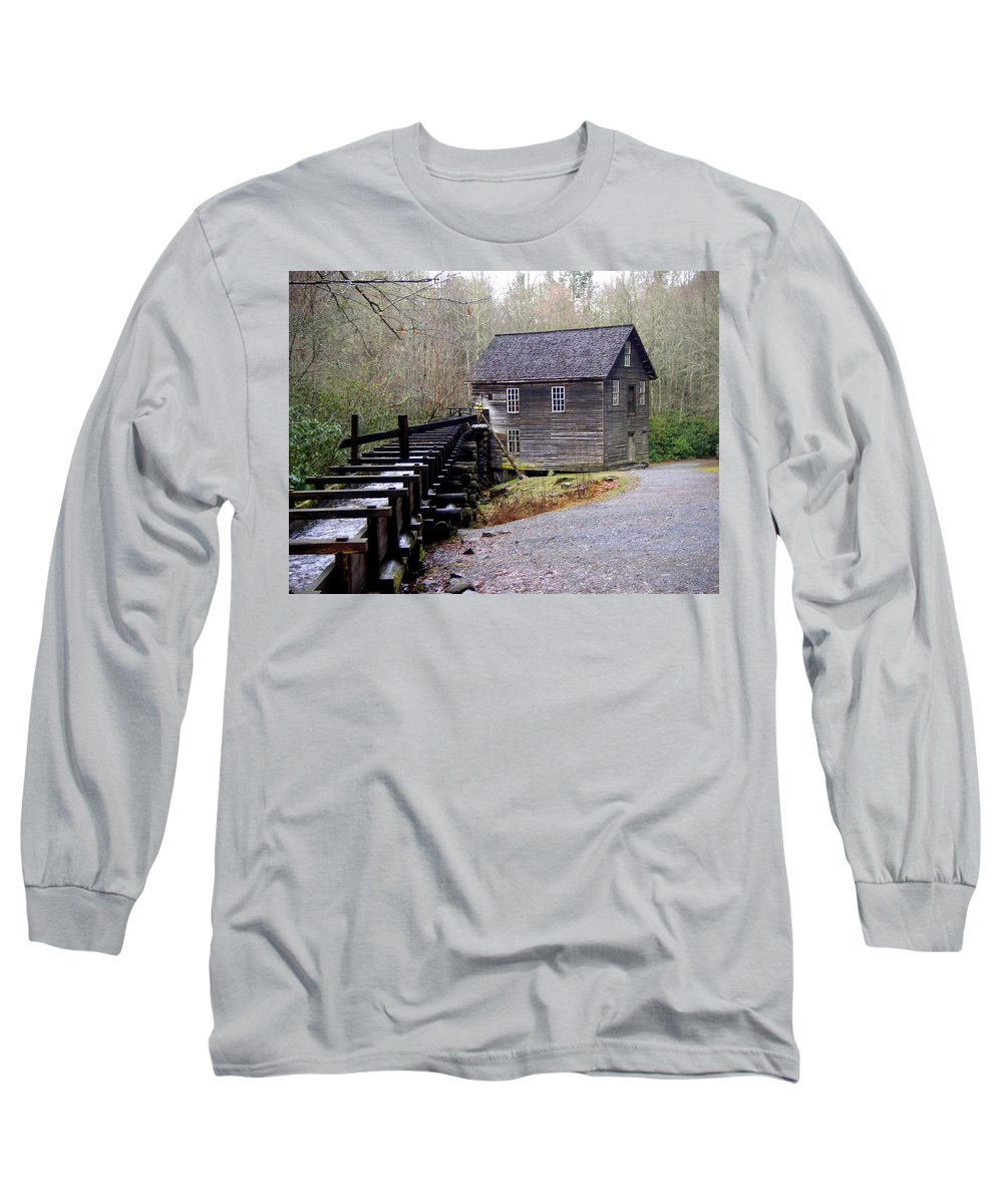 Great Smokey Mountain National Park Long Sleeve T-Shirt featuring the photograph Mingus Mill by Marty Koch