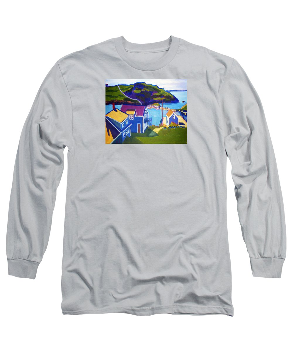 Seascape Long Sleeve T-Shirt featuring the painting Monhegan Harbor by Debra Bretton Robinson