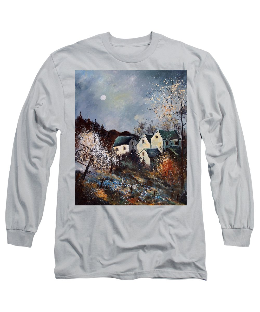 Village Long Sleeve T-Shirt featuring the painting Moonshine by Pol Ledent