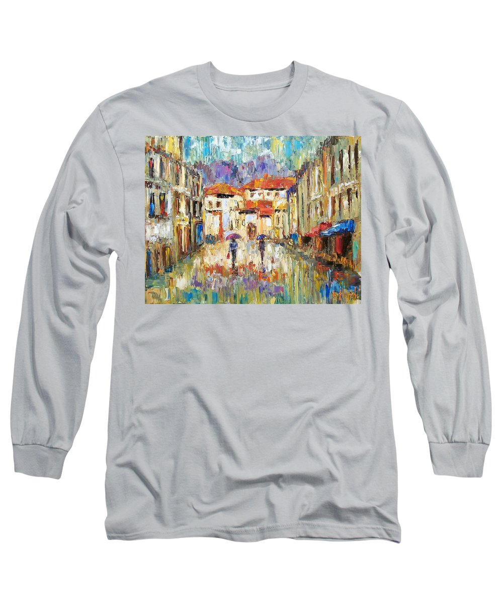 Landscape Long Sleeve T-Shirt featuring the painting Morning Rain by Debra Hurd