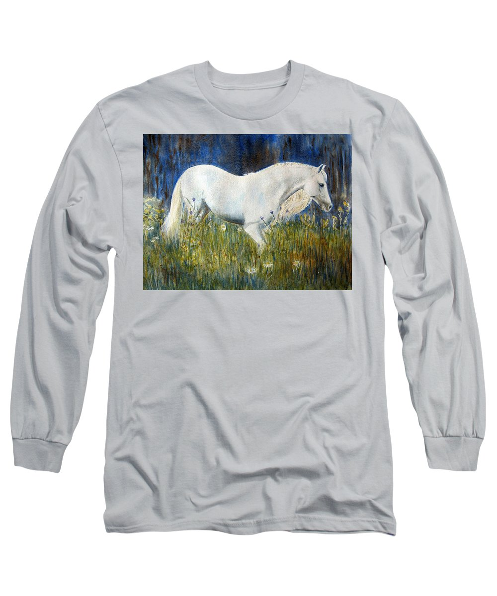 Horse Painting Long Sleeve T-Shirt featuring the painting Morning Walk by Frances Gillotti
