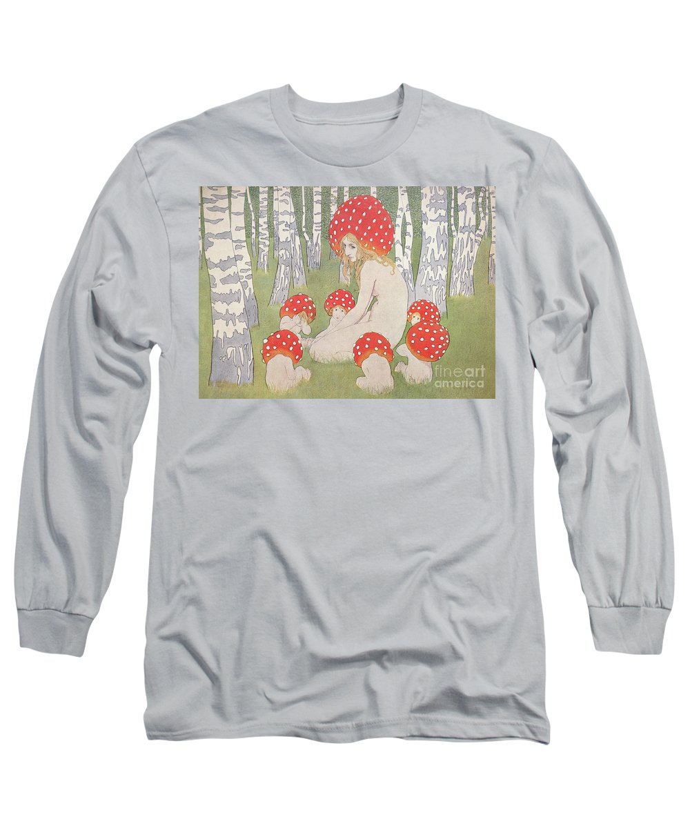 Mother Mushroom With Her Children Long Sleeve T-Shirt featuring the drawing Mother Mushroom With Her Children by Edwars Okun