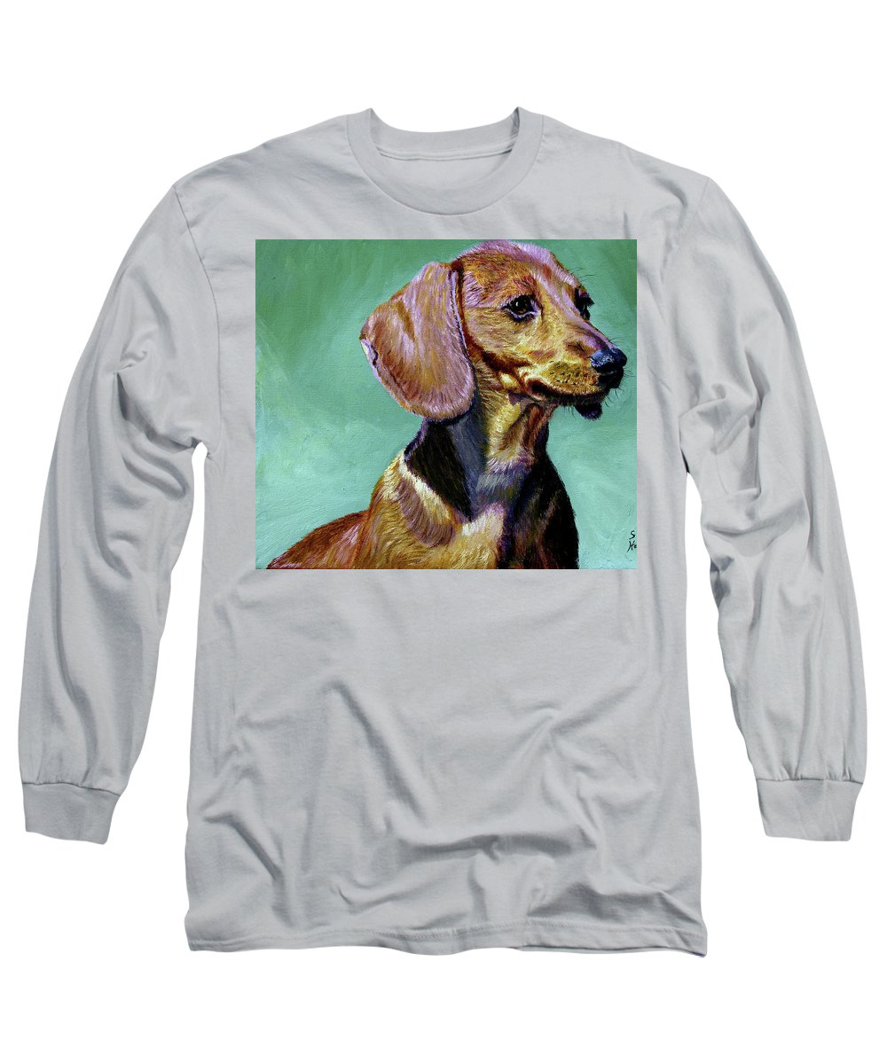 Daschund Long Sleeve T-Shirt featuring the painting My Daschund by Stan Hamilton