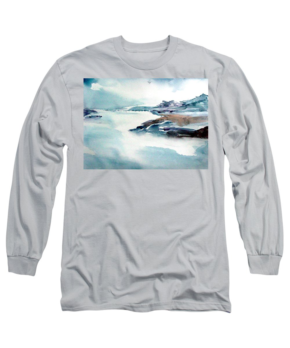 River Long Sleeve T-Shirt featuring the painting Mystic River by Anil Nene