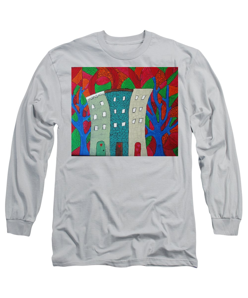 Houses Long Sleeve T-Shirt featuring the painting Neighbors by Wayne Potrafka
