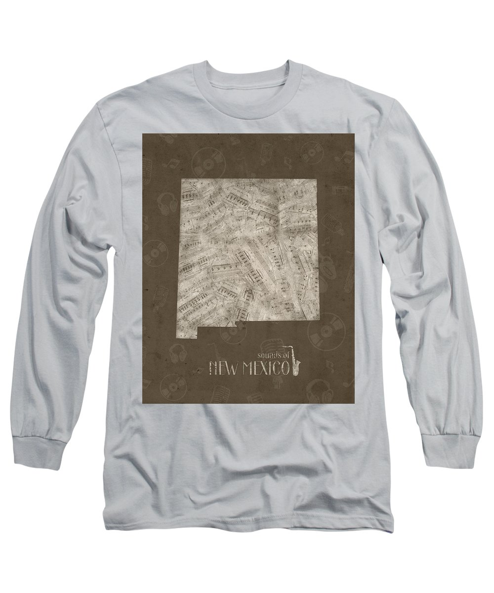 New Mexico Long Sleeve T-Shirt featuring the photograph New Mexico Map Music Notes 3 by Bekim M