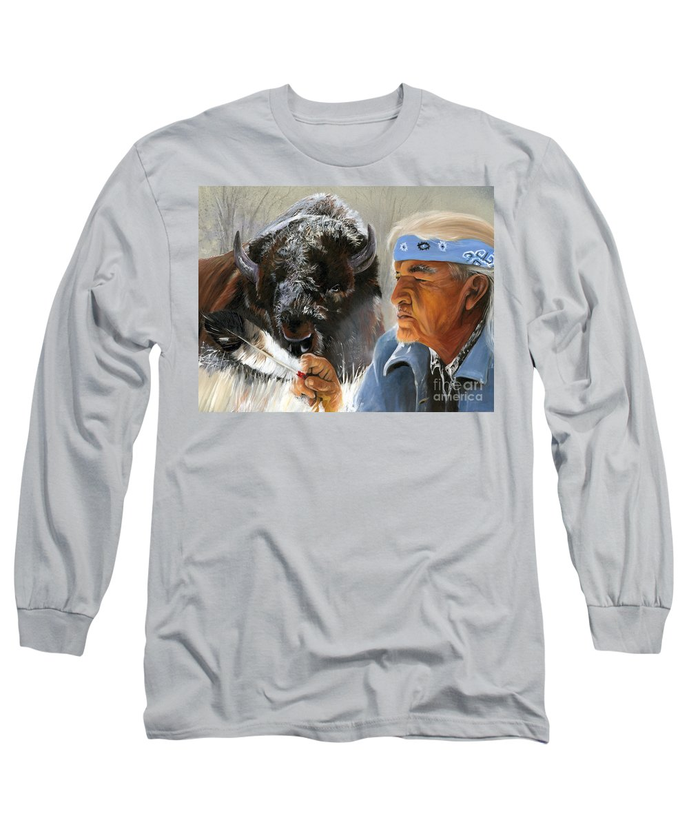 Southwest Art Long Sleeve T-Shirt featuring the painting Nothing Is Ever Forgotten by J W Baker