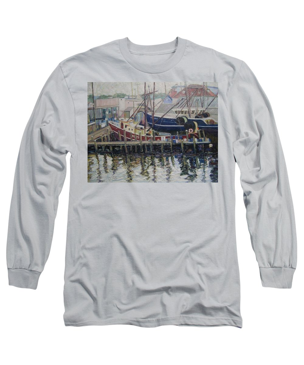 Boats Long Sleeve T-Shirt featuring the painting Nova Scotia Boats At Rest by Richard Nowak