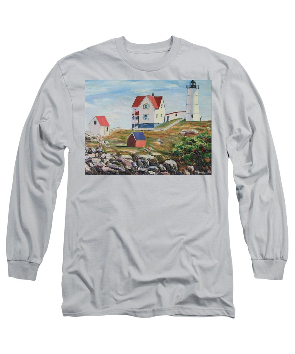 Nubble Light House Long Sleeve T-Shirt featuring the painting Nubble Light House Maine by Richard Nowak