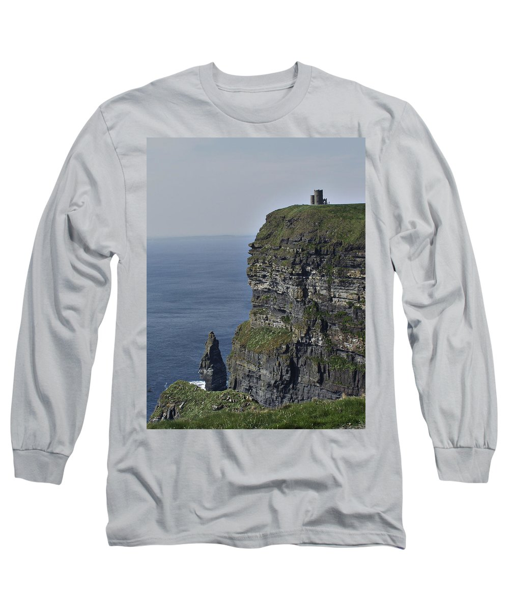 Irish Long Sleeve T-Shirt featuring the photograph O Brien's Tower At The Cliffs Of Moher Ireland by Teresa Mucha