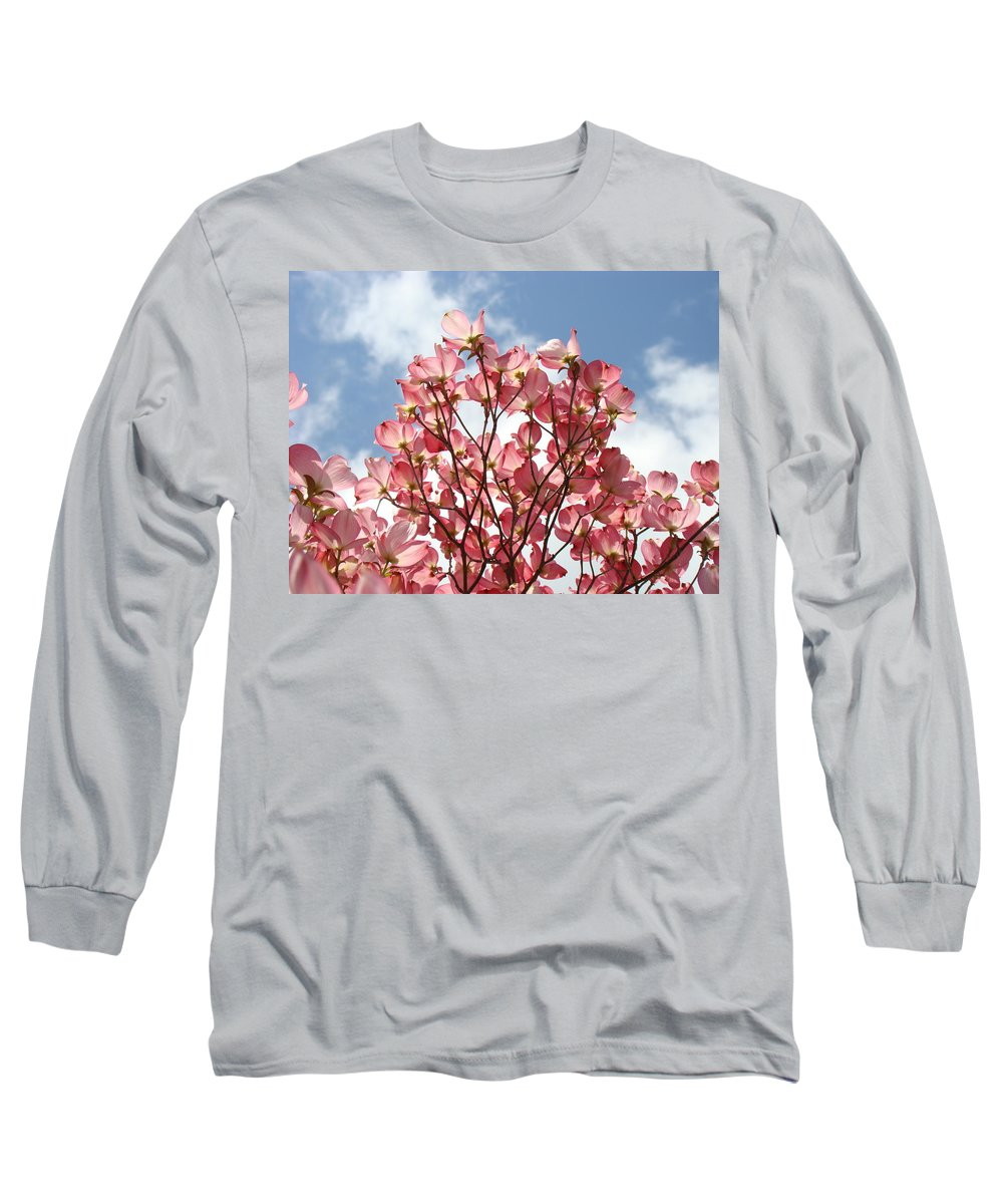 Office Long Sleeve T-Shirt featuring the photograph Office Art Prints Blue Sky Pink Dogwood Flowering 7 Giclee Prints Baslee Troutman by Baslee Troutman