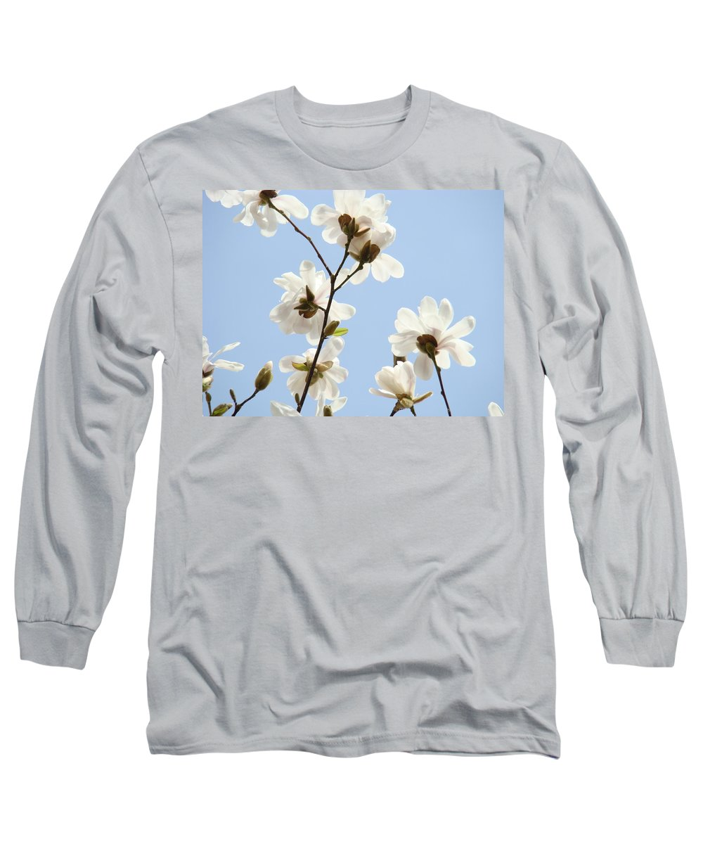 Blue Long Sleeve T-Shirt featuring the photograph Office Art Prints Blue Sky White Magnolia Flowers 38 Giclee Prints Baslee Troutman by Baslee Troutman