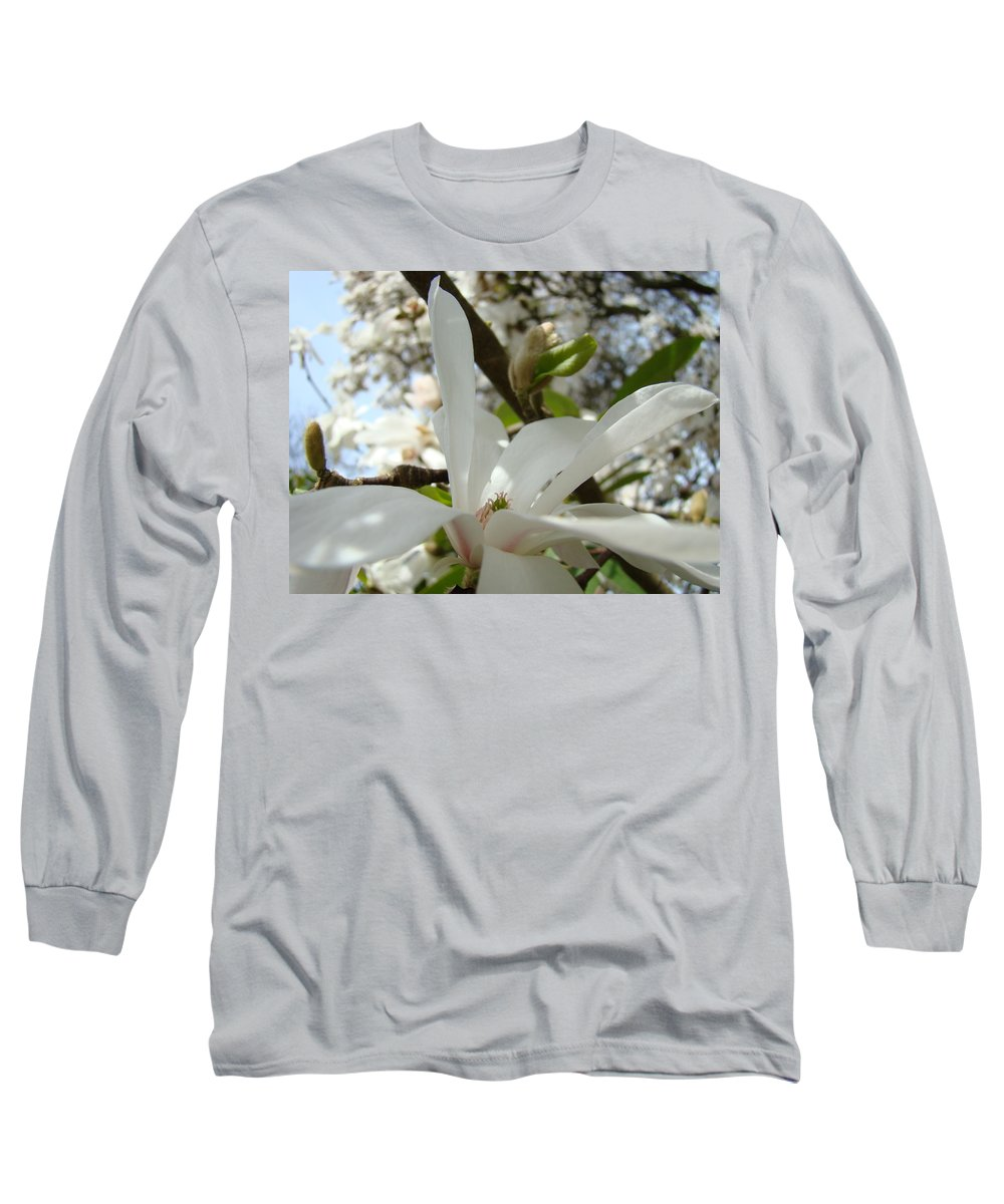 Magnolia Long Sleeve T-Shirt featuring the photograph Office Art Prints White Magnolia Flower 6 Giclee Prints Baslee Troutman by Baslee Troutman