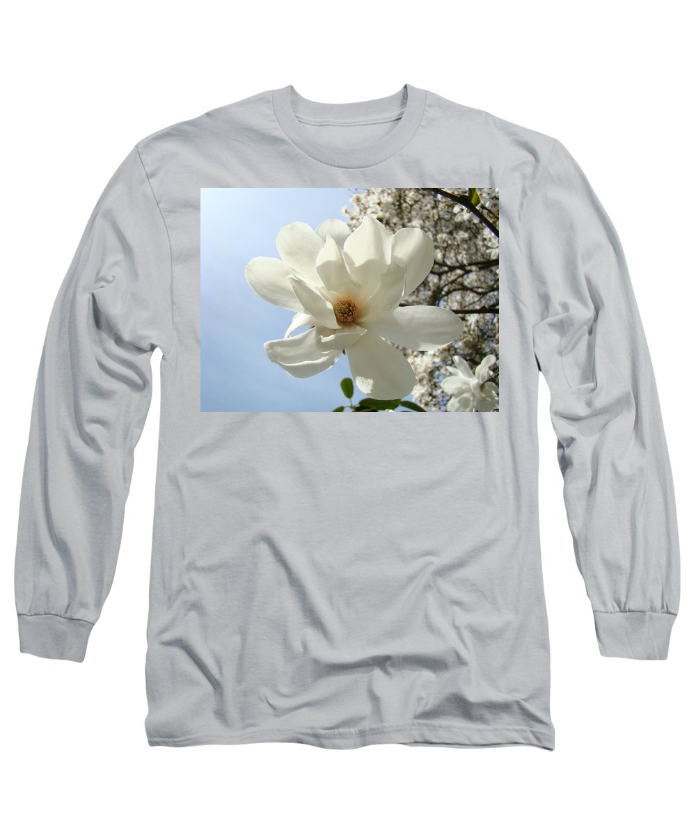 Magnolia Long Sleeve T-Shirt featuring the photograph Office Art Prints White Magnolia Flower 66 Blue Sky Giclee Prints Baslee Troutman by Baslee Troutman