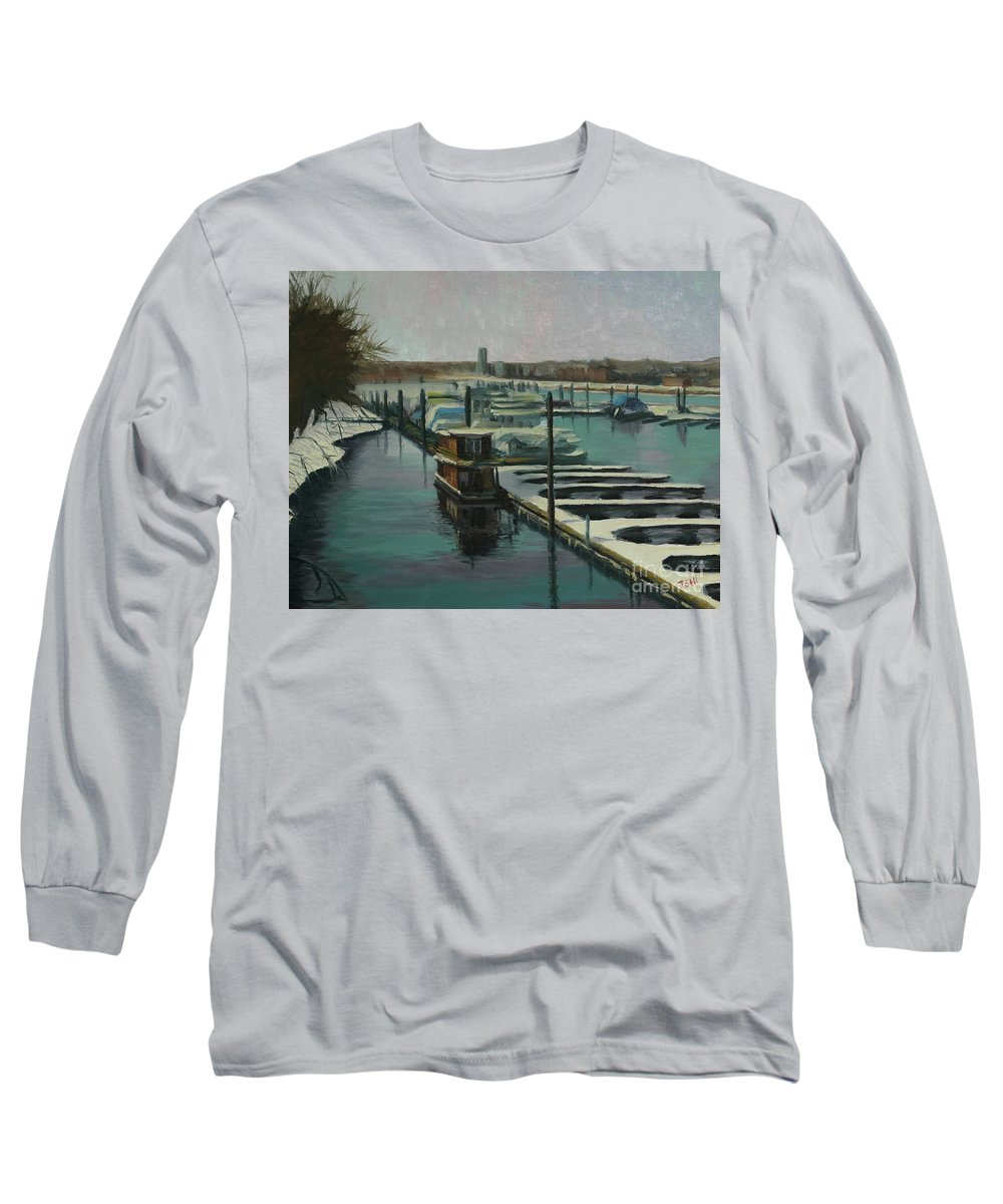 Mississippi Long Sleeve T-Shirt featuring the painting On The River by Laura Toth