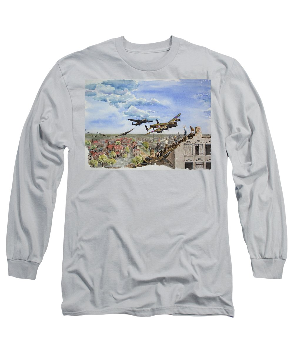 Lancaster Bomber Long Sleeve T-Shirt featuring the painting Operation Manna I by Gale Cochran-Smith