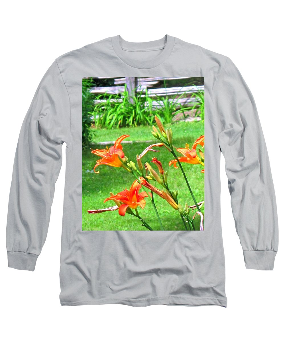 Lilly Long Sleeve T-Shirt featuring the photograph Orange And Green by Ian MacDonald
