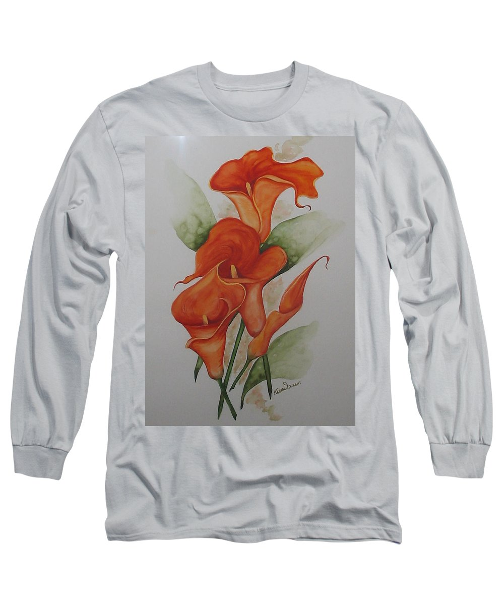 Floral Orange Lily Long Sleeve T-Shirt featuring the painting Orange Callas by Karin Dawn Kelshall- Best