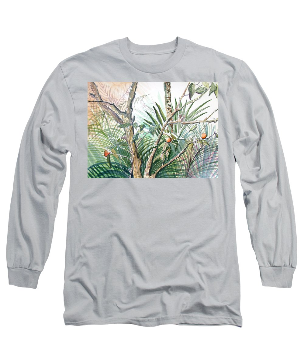 Fruit Long Sleeve T-Shirt featuring the painting Orange Tree by Mindy Newman